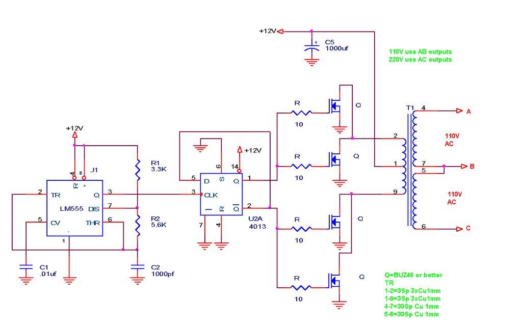 110V220V 500W or more inverter Circuit Diagram