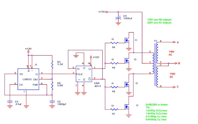 110v-220v 500w or more inverter circuit diagram