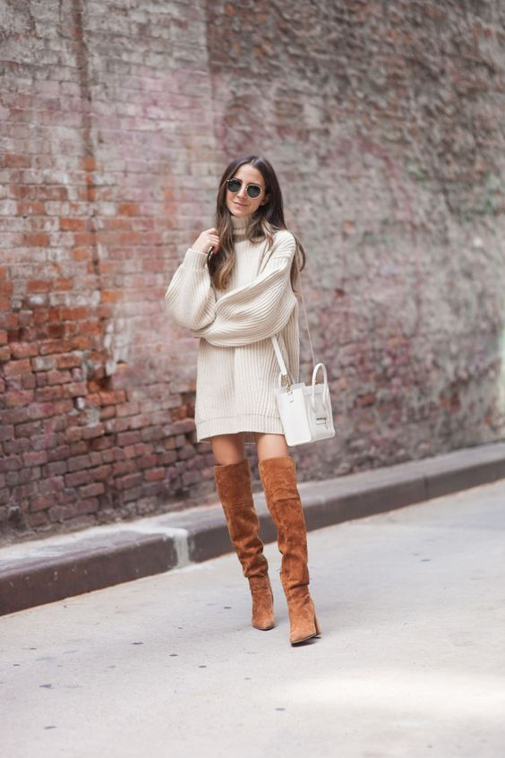 Something Navy, Oversized Knit Sweater, Celine Bag, Camel Suede Over the Knee Boots