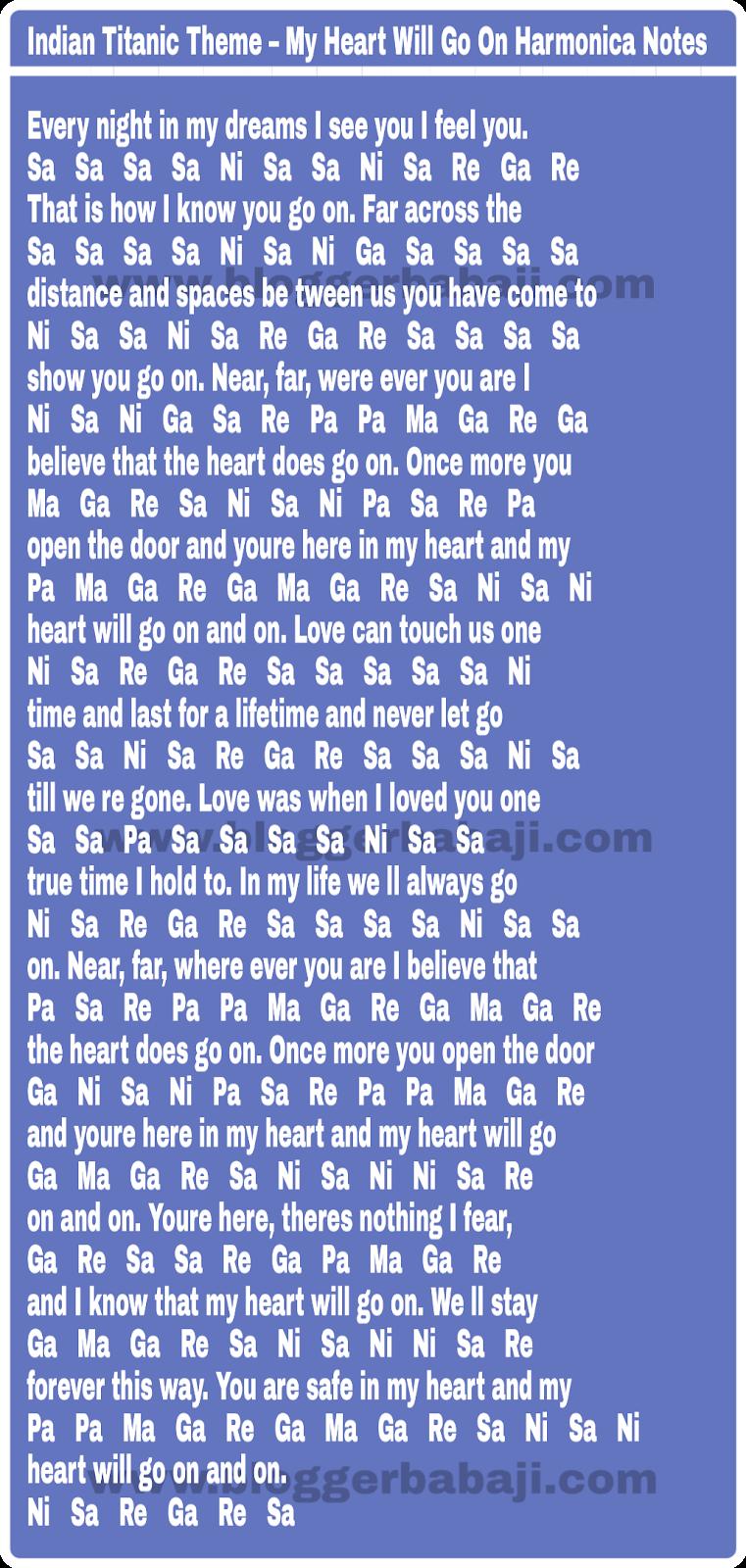 Indian Titanic Theme My Heart Will Go On Harmonica Notations Notes Key Tabs Yahin doobe din mere, dhadha gadha ni sa. on harmonica notations notes key tabs