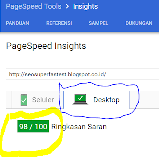 Skor kecepatan ketika di uji dengan PageSpeed Google Tools versi Desktop (98 dari maksimal 100)