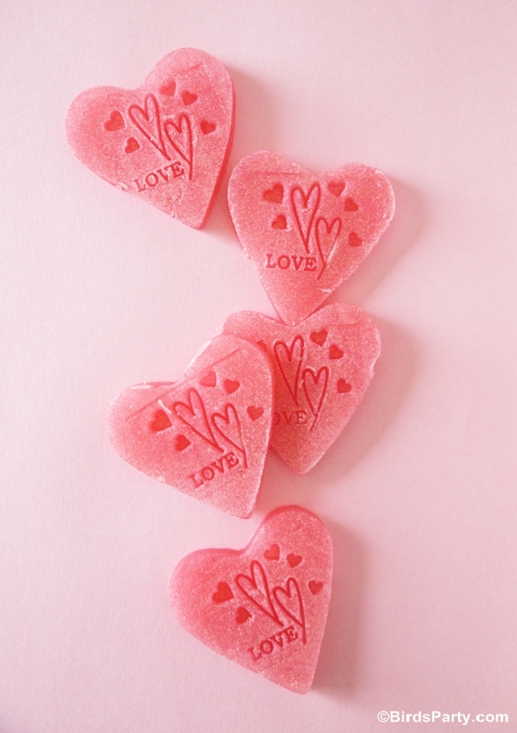 Easy DIY and Sparkly Heart Soap Handmade Gift - BirdsParty.com