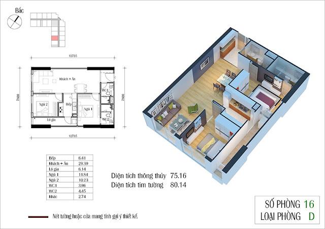 Thiết kế căn hộ 16 tòa CT2 Eco Green City
