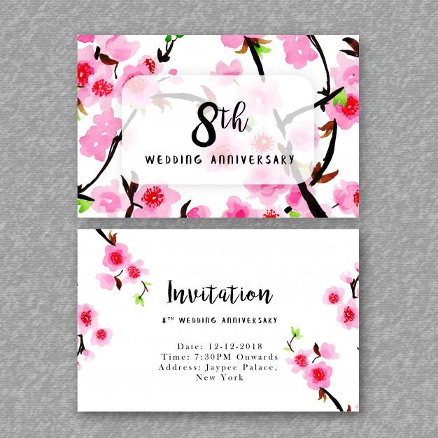 Watercolor Floral Wedding Anniversary Invitation Free Vector
