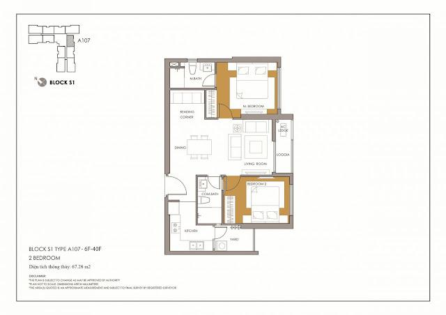 Thiết kế điển hình căn hộ 2 phòng ngủ Season Avenue