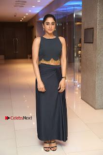 Actress Regina Candra Stills in Beautiful Blue Long Dress at Nagaram Success Meet  0168.JPG