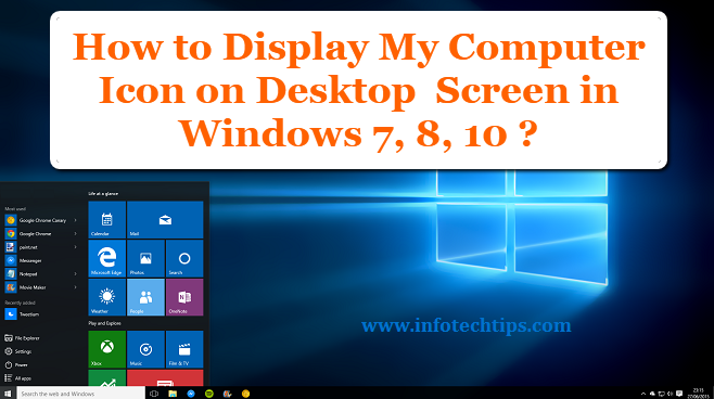 Enable My Computer Icon in Windows 7, 8, 10