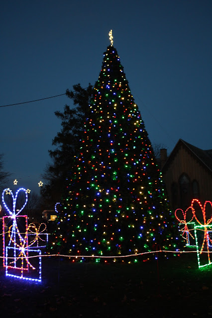 Vibrant lights adorn the ChristmasTree at Naper Settlement.