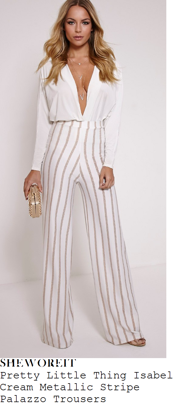 cally-jane-beech-pretty-little-thing-isabel-cream-and-gold-metallic-stripe-wide-leg-palazzo-trousers