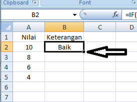 Memasukkan formula IF pada kolom lain dengan cara seret kotak kecil ke bawah