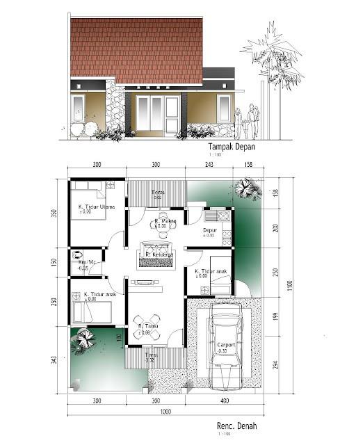 gambar denah rumah type 56 1
