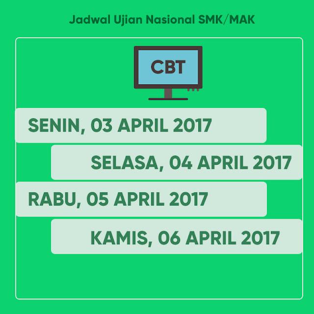 JADWAL UJIAN NASIONAL (UN) SMK/MAK 2017