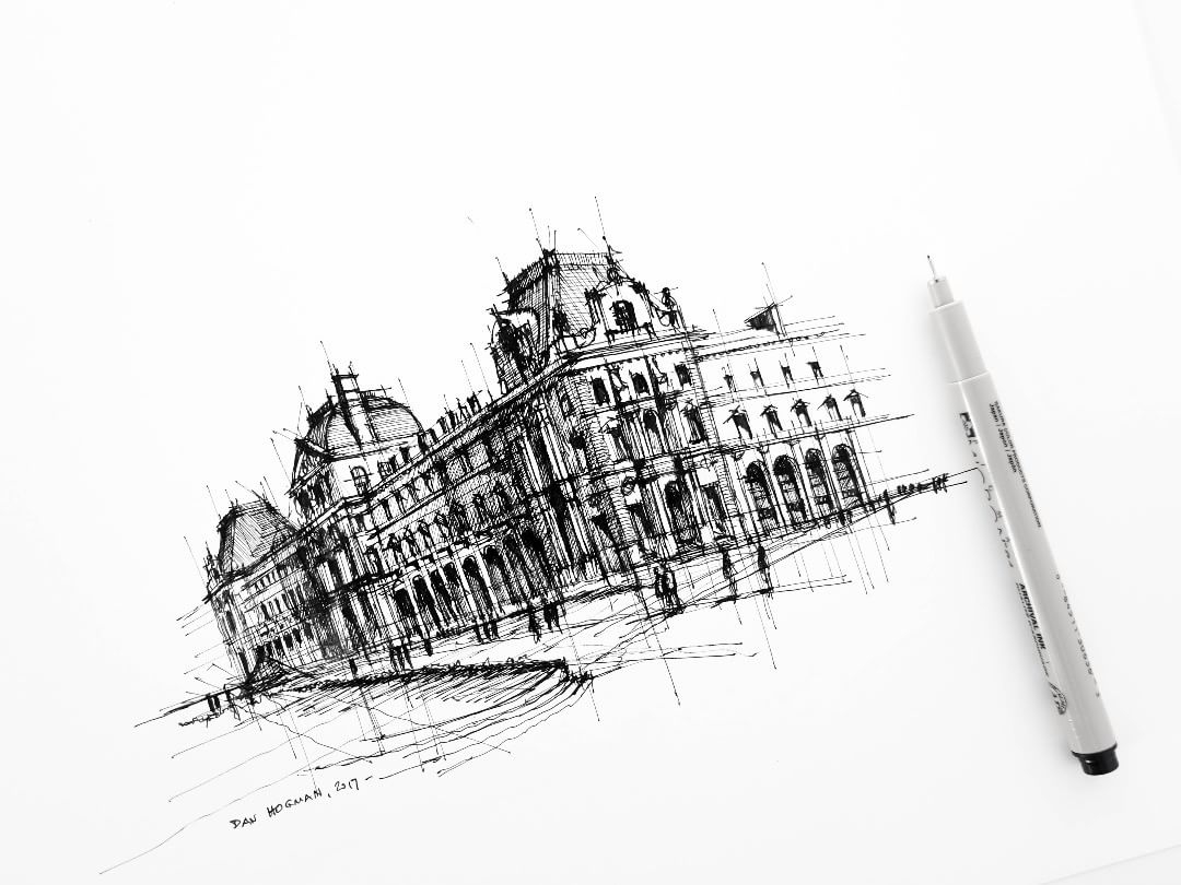 07-By-the-Louvre-Dan-Hogman-Urban-Sketches-of-Paris-in-France-www-designstack-co