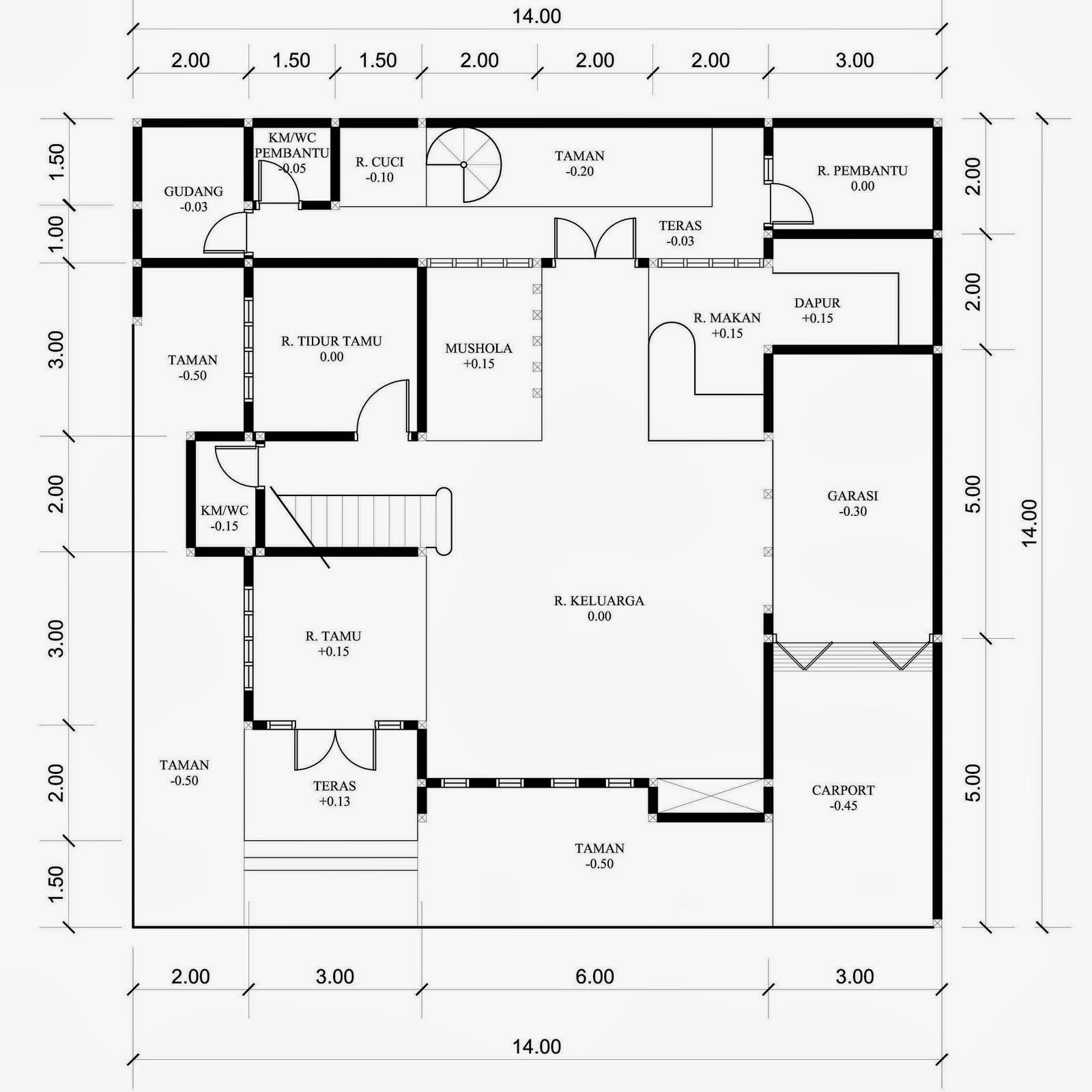 Desain Rumah 2 Lantai Di Tanah Bujur Sangkar Desain Denah Rumah