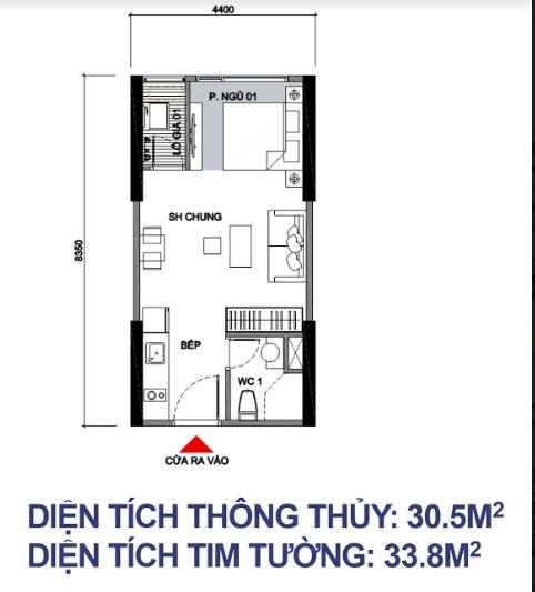 Căn Studio - 30,5m2