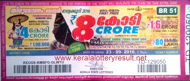 Thiruvonam Bumper Lottery Ticket 2016
