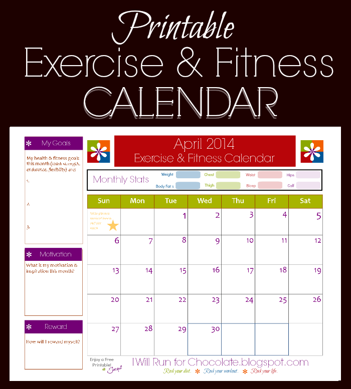 exercise calendar template free - april fitness exercise printable calendar weigh to