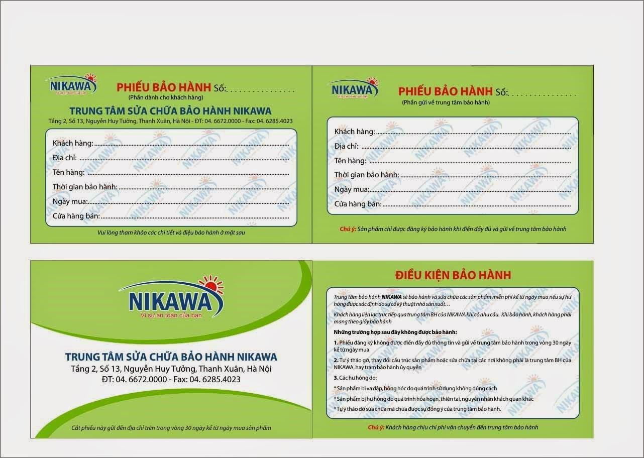 Phiếu bảo hành của thang nhôm Nikawa chính hãng