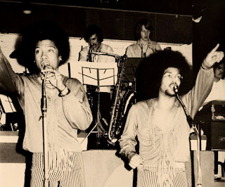 The Brothers Johnston in New Zealand circa 1973, backed by The Quincy Conserve at Wellington's Downtown Club Credit: Photo by Bob Leask