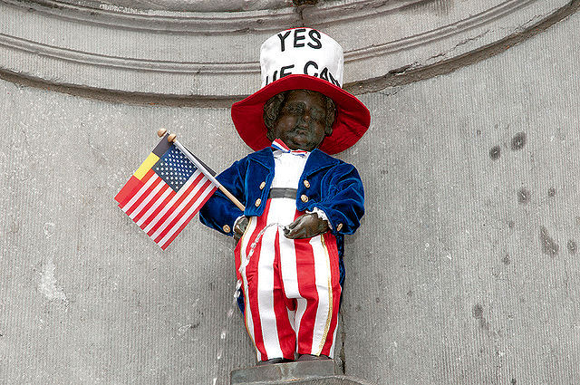 To celebrate America's Fourth of July, Mannekin Pis appears as our beloved Uncle Sam. Photo: WikiMedia.org.