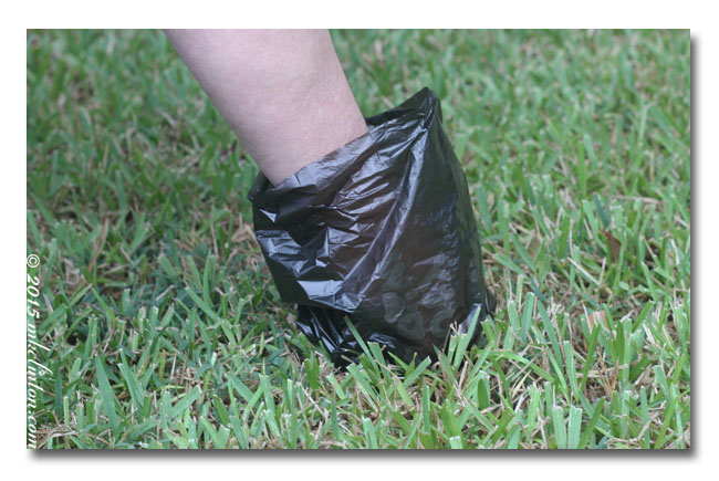Person using Sooty Paw Paw dog bag to pick up poop