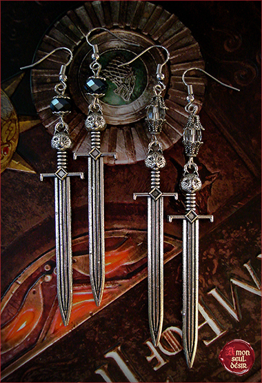 boucles oreilles bijoux game of thrones jon snow loup stark winterfell grand griffe épée sword longclaw earrings wolf jewelry winter is coming