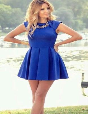 vestido azul corto para adolescentes tumblr