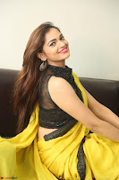 Cute Actress Ashwini in Yellow Saree Exclusive  035.JPG