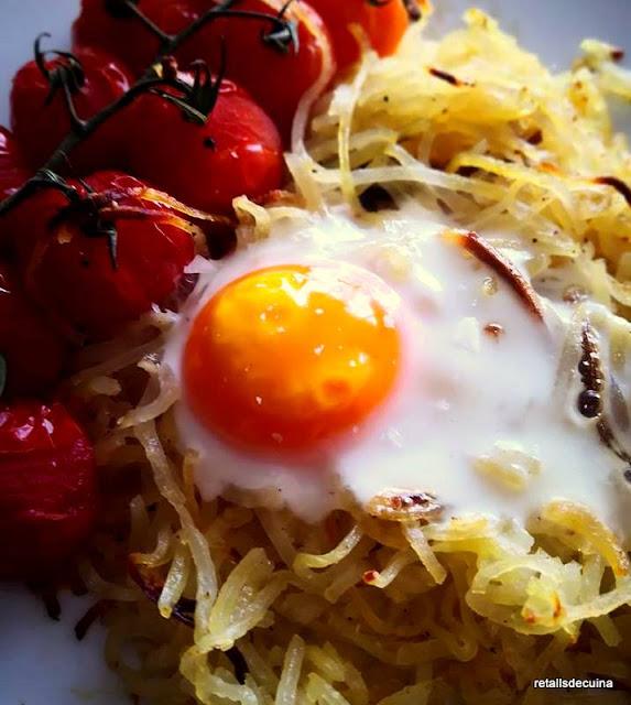 Espagueti de patates amb ous trufats
