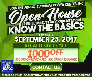 JROOZ FREE IELTS/IELTS UKVI ONE DAY PROMO  Join us on September 23, 2017  Know the basics of IELTS and IELTS UKVI  GET 1000 OFF  Manage Your Goals Today For Your Practice Tomorrow!