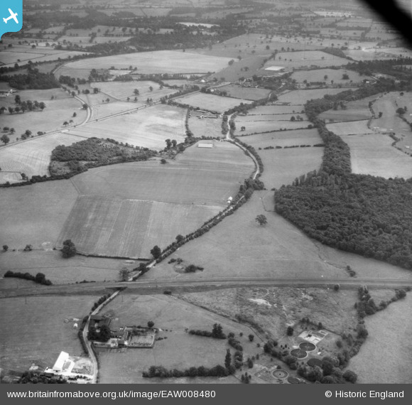 Photograph of Skimpans Bridge and Bulls Lane, Welham Green, 1947 Original Britain From Above caption