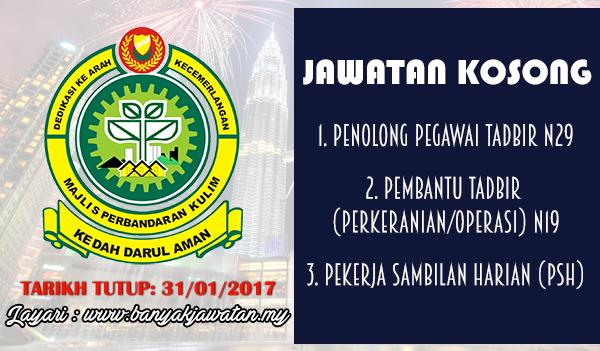 Jawatan Kosong Terkini 2017 di Majlis Perbandaran Kulim (MPKK)