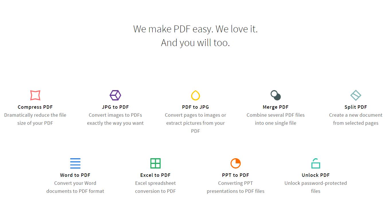 PDF 線上轉檔網站推薦:Smallpdf.com - 可分割、合併、壓縮 PDF 檔案或是將 PDF 轉 JPG、Word 轉 PDF、Excel 轉 PDF、PPT 轉 ...