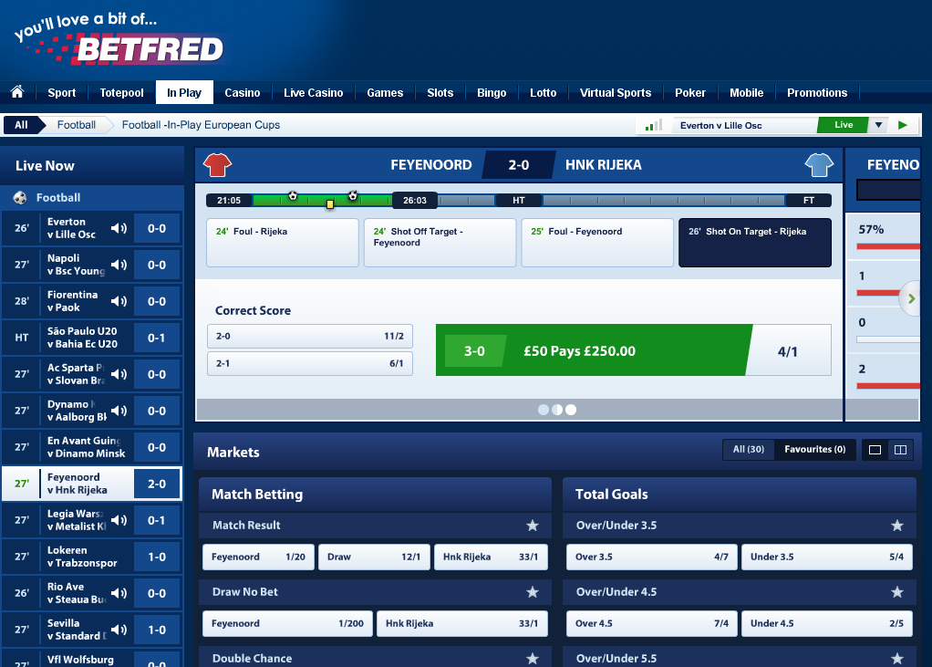 Betfred In Play Betting Screen