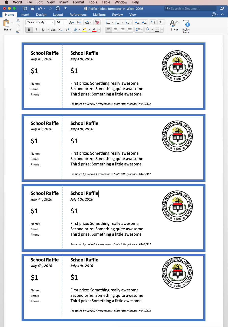 print raffle tickets using a template in office word  so now you have a template ready four raffle tickets per page you just need to add numbers to each one