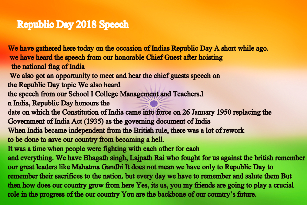 sanskrit speech on republic day On the eve of the sixty-eighth republic day of our nation, i extend warm  on  that day, we became the largest democracy of the world  minister narendra  modi's independence day speech from the ramparts of the red fort.