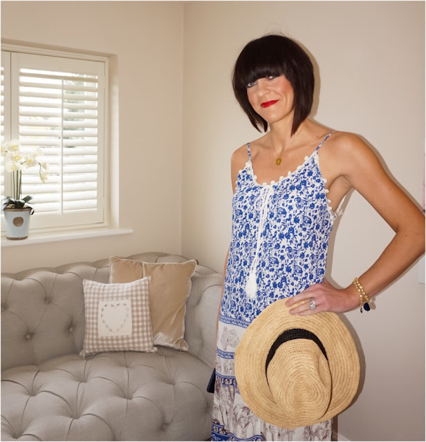 My Midlife Fashion, Coco Bay, Debbie Katz Gaja Maxi Dress, Debbie Katz Maya Bag, Seafolly Layaway fedora Hat, Havaiana animal print slim flip flops, harry rocks entwined initials necklace, ashiana bracelets