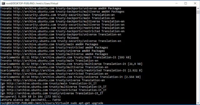 Aggiornare i pacchetti con apt-get update e apt-get upgrade