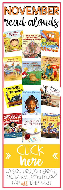 November provides so many fun thematic teaching opportunities!  Books are a great way to introduce standards in other curricular areas.  We have 12 amazing books and activities for you this month!