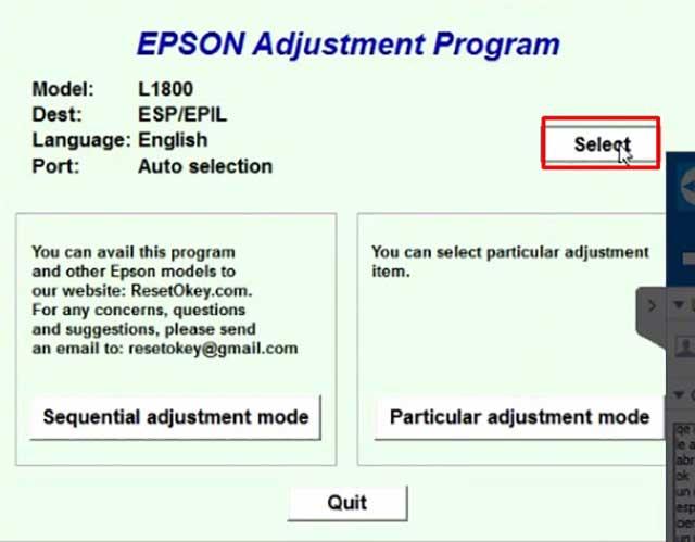 Descargar Reset Epson L1800