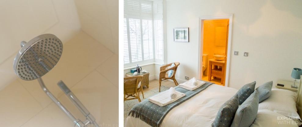 Stylish interior of Promenade View bedroom and bathroom