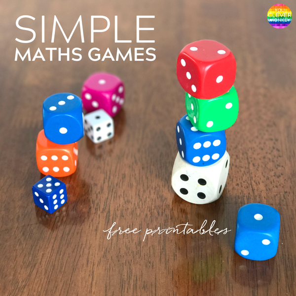Simple Maths Games To Play Together   you clever monkey Simple Maths Games To Play Together   grab these FREE printable games to  play at school