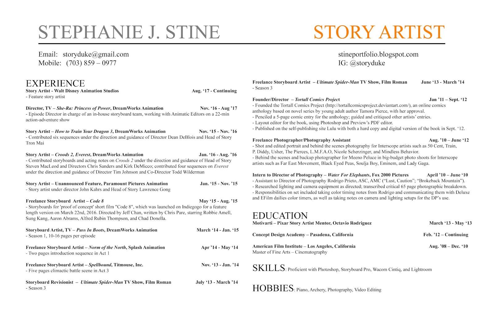 Resume Stephanie J Stine Portfolio