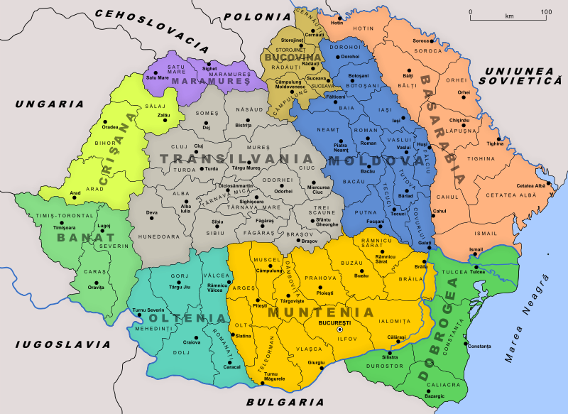 Map of Transylvania: After World War One