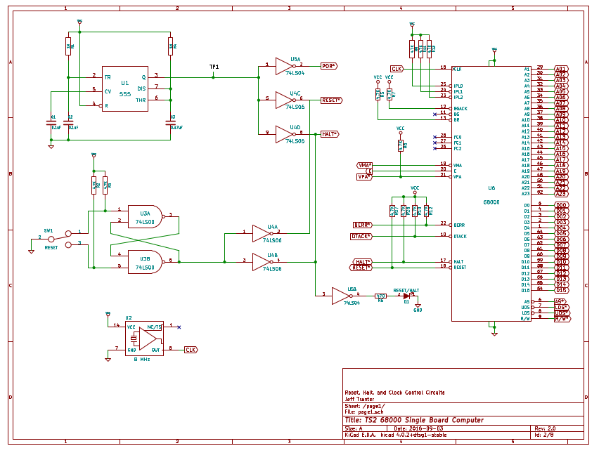building a 68000 single board computer - schematic entry and design changes