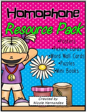 http://www.teacherspayteachers.com/Product/Homophone-Resource-Pack-with-Posters-Picture-Cards-and-More-1320327