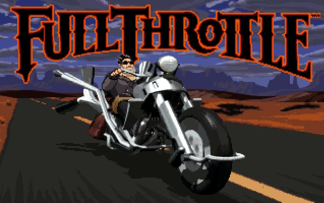 Screenshot of Full Throttle game splash screen with Ben on his bike