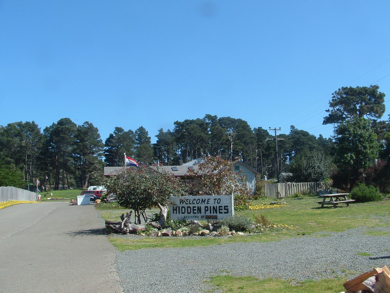 North From Mendocino 78 Miles Or Just 1 2 Mile South Fort Bragg On The Pacific Coast Highway Come To Hidden Pines RV Park Campground
