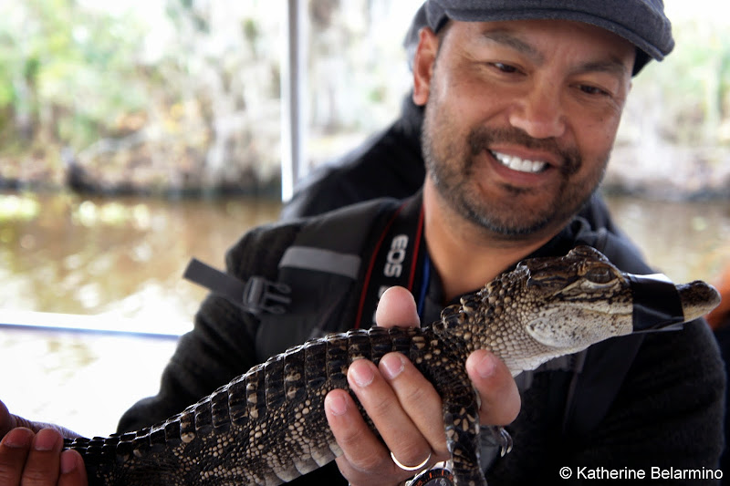 Holding a Juvenile Alligator New Orleans Swamp Tour