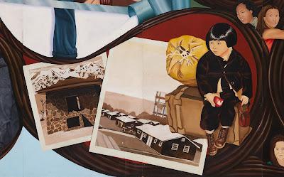 Detail, Barbara Carrasco,L.A. History: A Mexican Perspective,1981 (Censored 1981) California Historical Society/LA Plaza de Cultura y Artes; photograph by Sean Meredith
